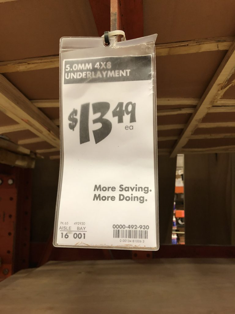 underlayment price tag home depot