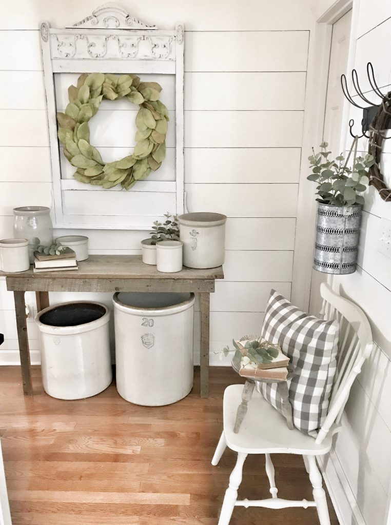 farmhouse hallway decor with faux shiplap wall diy completed