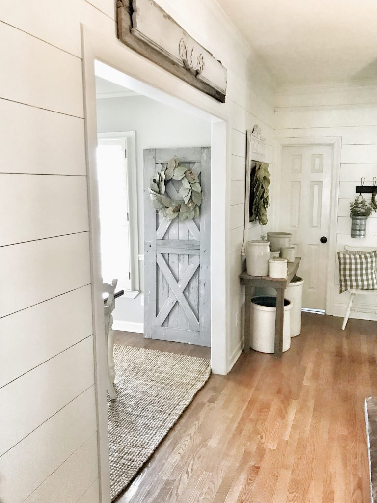 shiplap hallway after photo