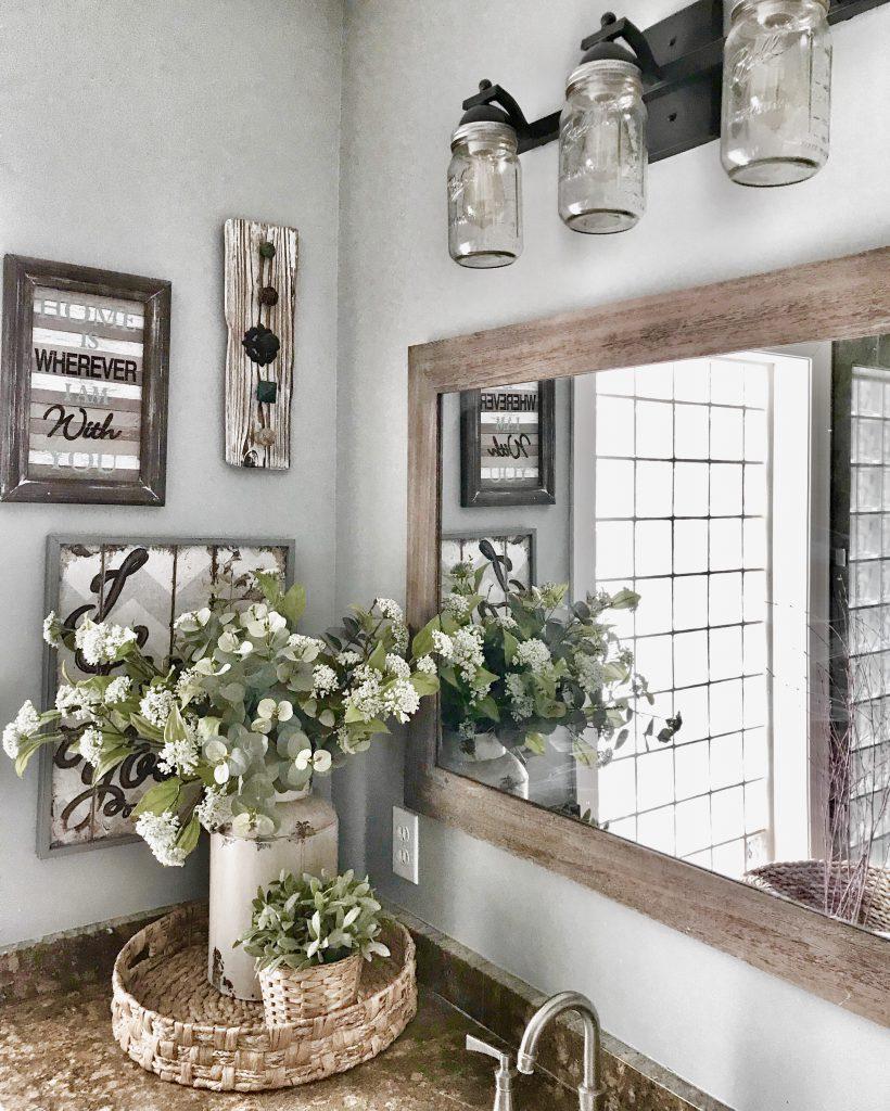 bathroom vanity mason jar lights and farmhouse decor