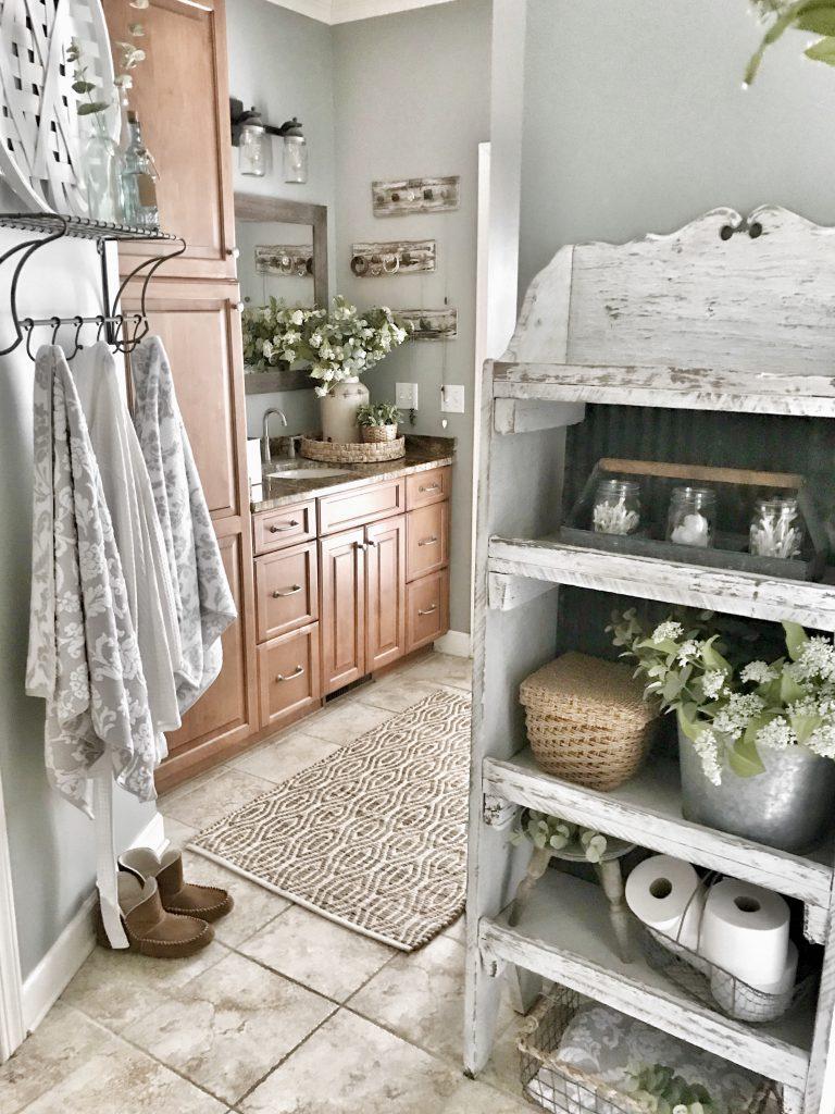 master bathroom makeover reveal towel shelf