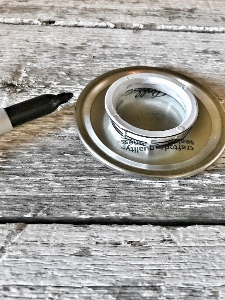 mason jar lid with marker