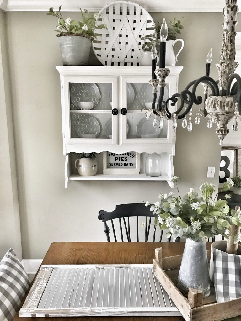 hanging hutch on wall in kitchen