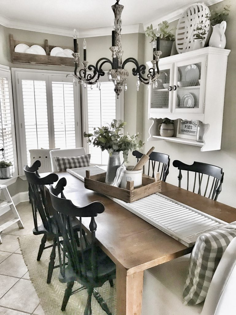 farmhouse kitchen table with shutter runner