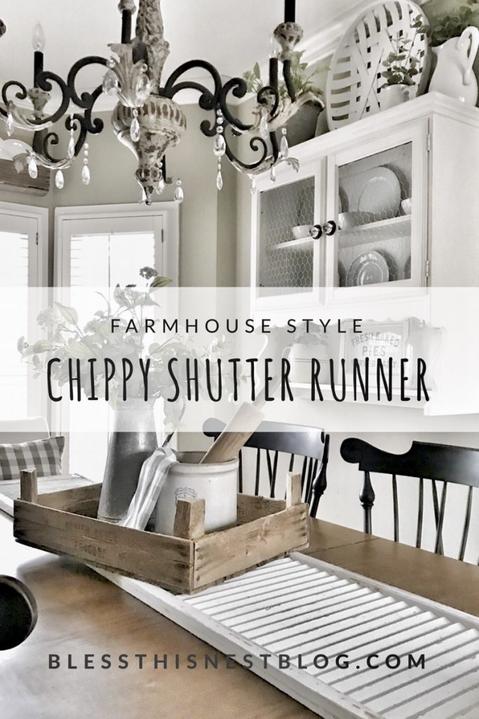 farmhouse style chippy shutter runner