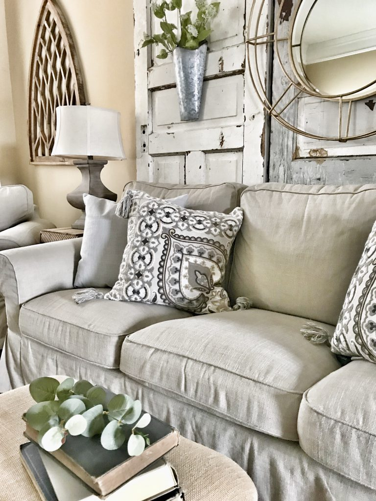side view of Ikea sofa with nordvalla slipcover