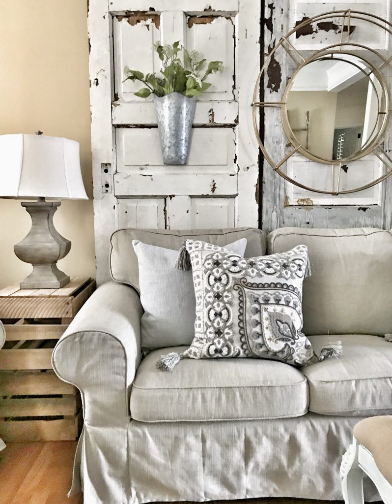 beige couch in farmhouse living room