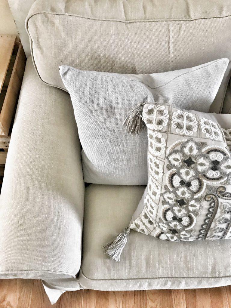 close up of Ikea Ektorp sofa armrest