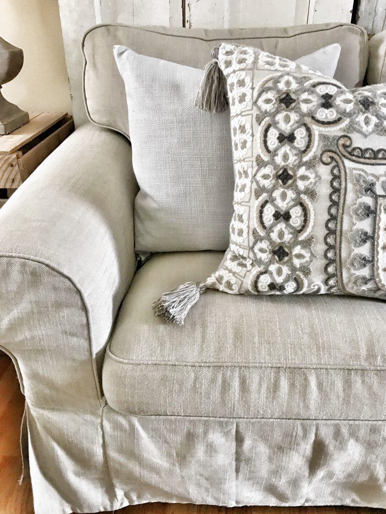 close up of Ikea Ektorp sofa