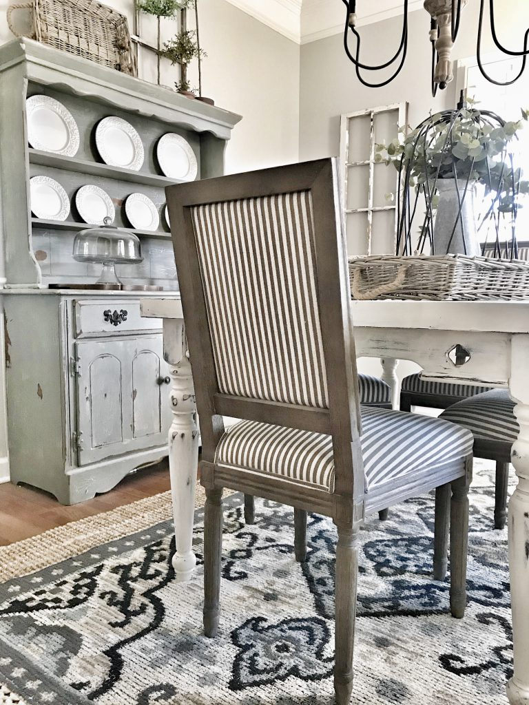 farmhouse dining room striped chair