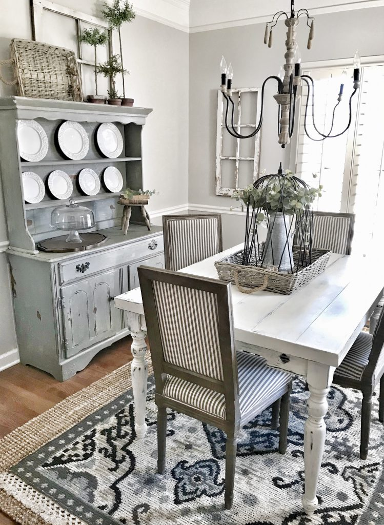 farmhouse dining room table and hutch