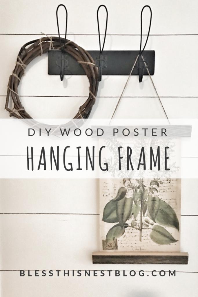 wood poster hanging frame DIY