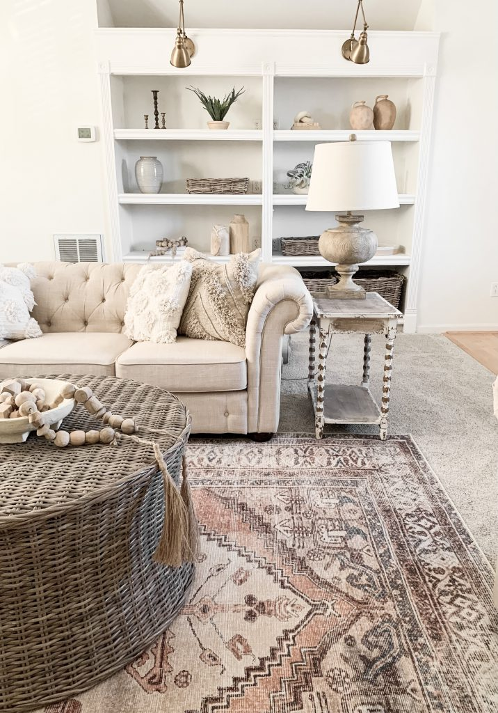 side view of rug and built-in shelves