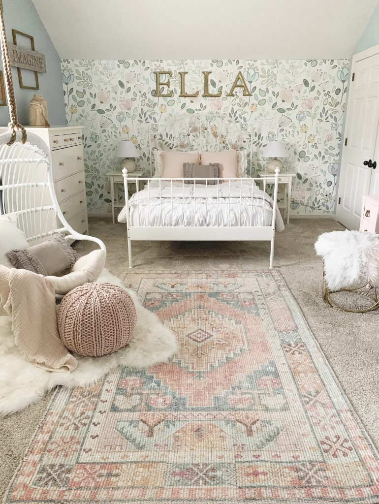 pink Turkish rug in girl's room