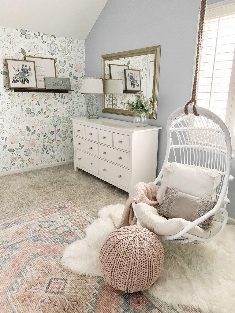 white dresser with gold mirror
