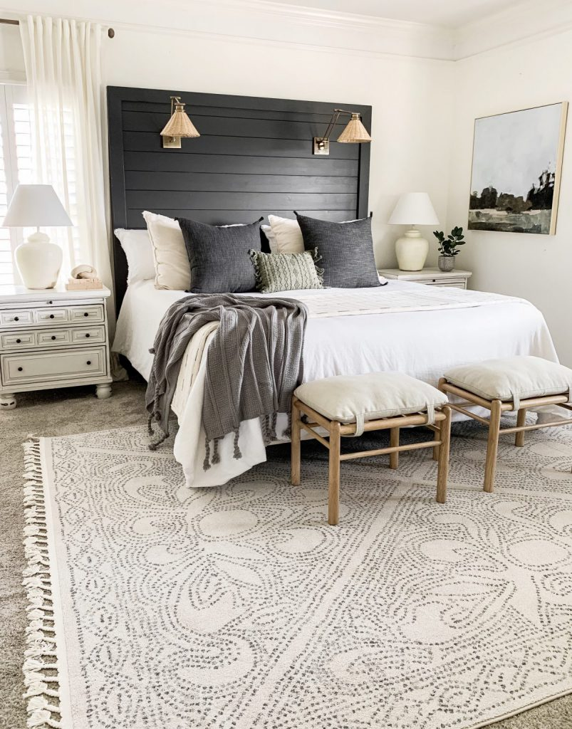 shiplap headboard in master bedroom