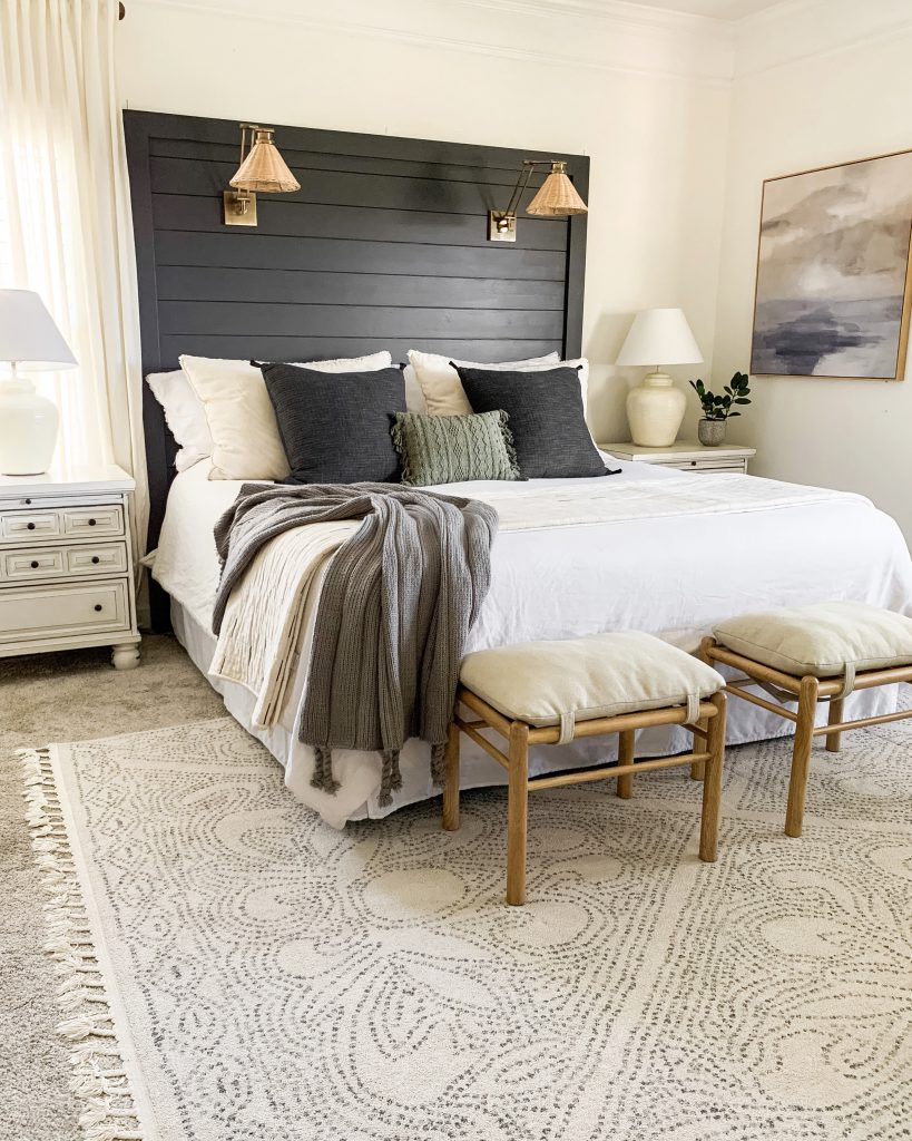 Birdwood area rug under king size bed