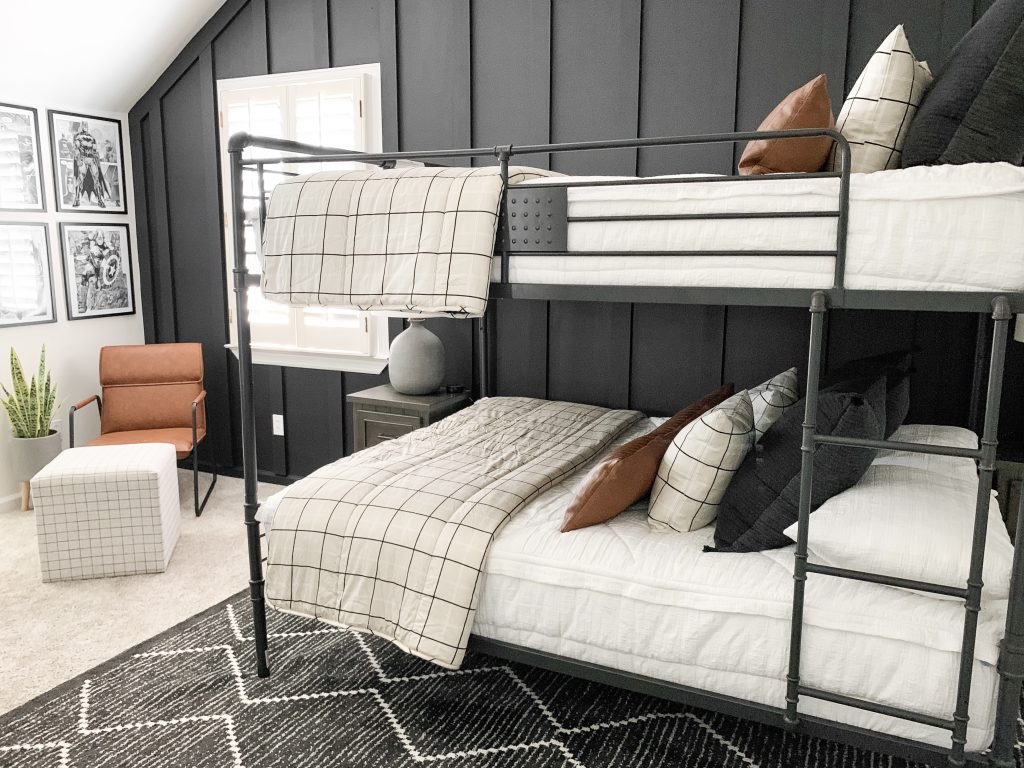 bunkbeds against board and batten wall