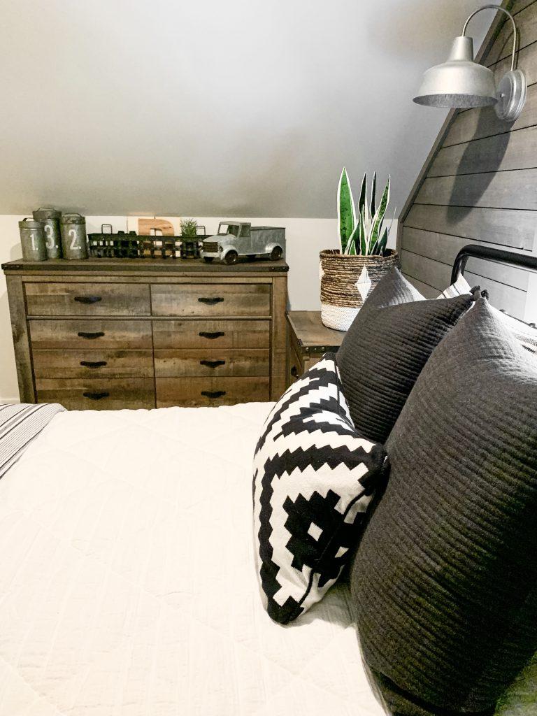 wood dresser in bedroom