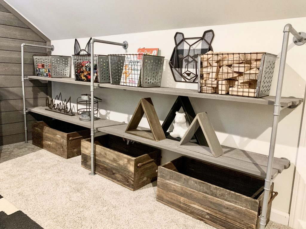 pipe shelves with toys
