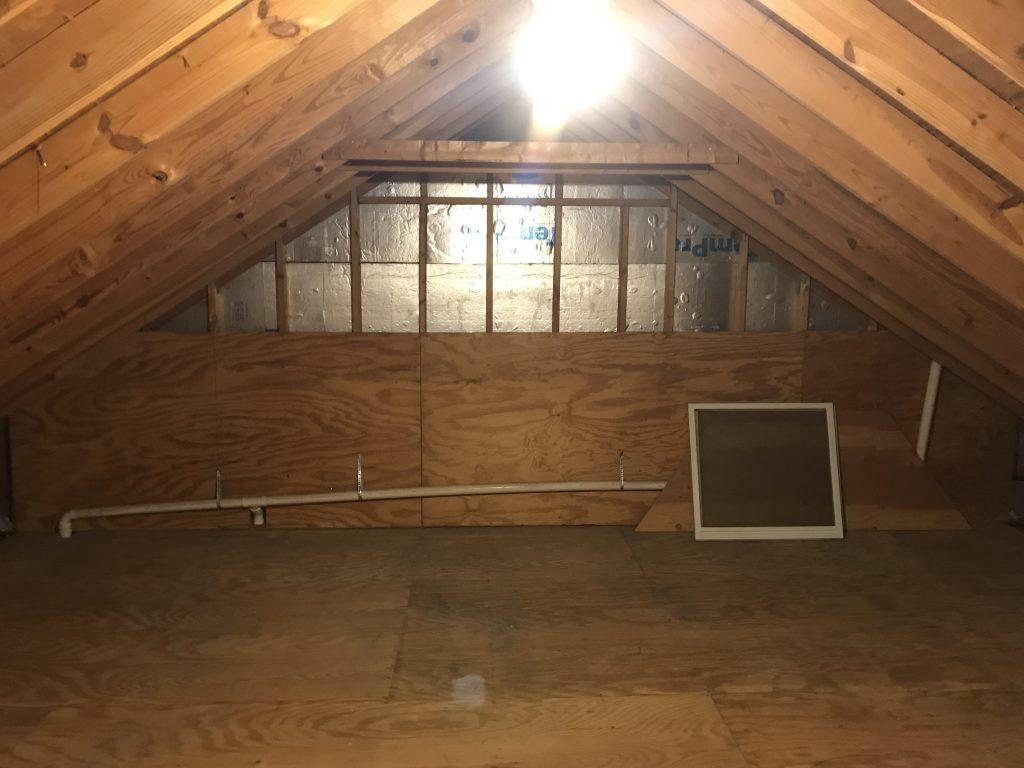 attic room with no walls