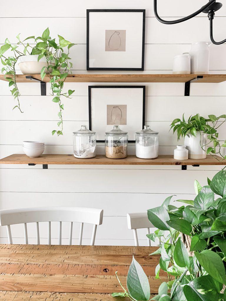 Studio McGee prints on kitchen shelves