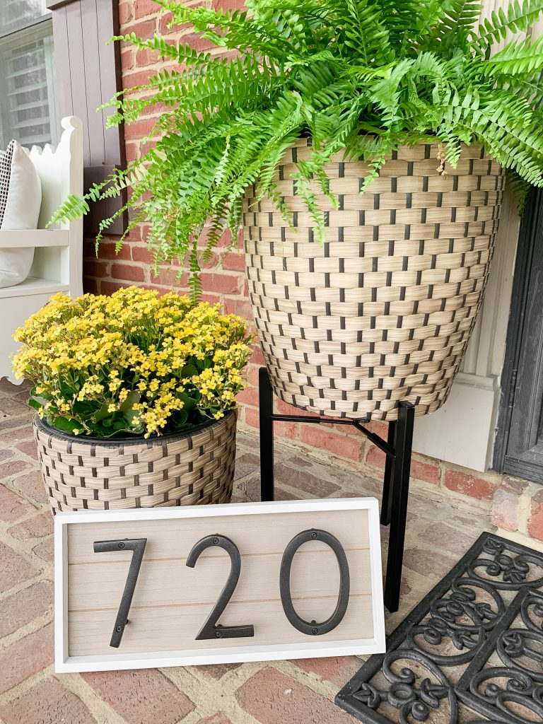 address sign and planters