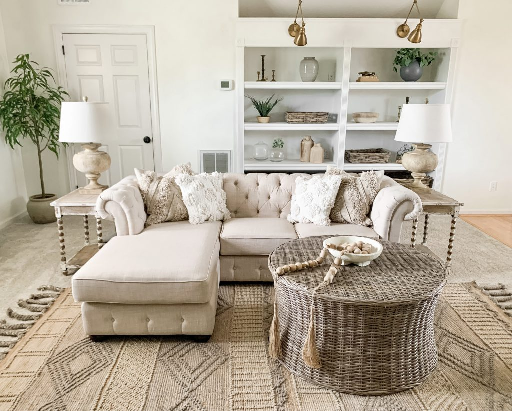 bonus room with natural fiber jute rug
